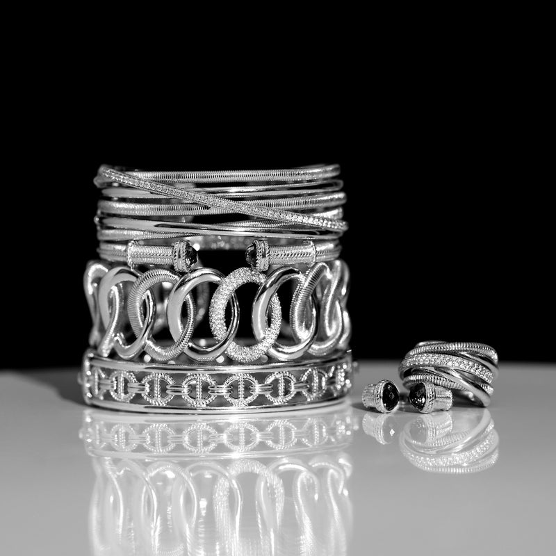 Eternity Interlocking Link Cuff Bracelet with Diamonds