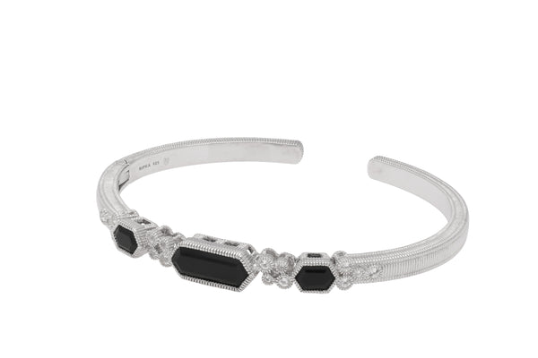 RIPKA Martinique Black Onyx Three Stone Hexagon Cuff with White Topaz Accents