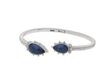 RIPKA Amalfi Double Pear Shape Rose Cut Blue Quartz & Hematite Doublet Cuff with White Topaz Accents
