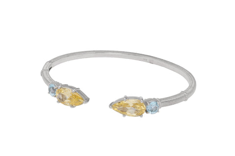RIPKA Rio Multi Shape Blue Topaz & Canary CZ Narrow Upside Down Cuff