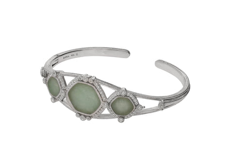 RIPKA Newport Green Jade Three Stone Cuff with White Topaz Accents