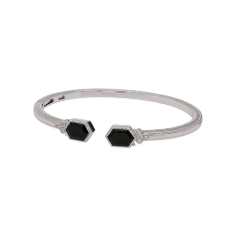 RIPKA Martinique Black Onyx Upside Down Double Hexagon Cuff with White Topaz Accents