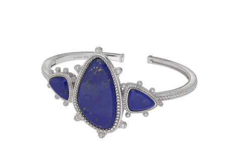 RIPKA Sardinia Organic Slice Lapis Three Stone Cuff with White Topaz Accents
