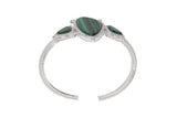 RIPKA Sardinia Organic Slice Malachite Three Stone Cuff with White Topaz Accents