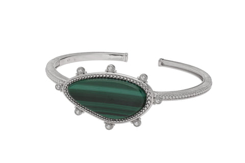 RIPKA Sardinia Organic Slice Malachite Cuff with White Topaz Accents