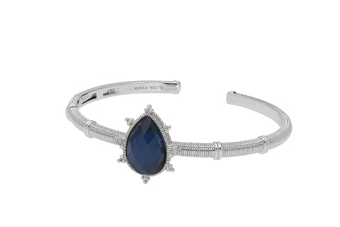 RIPKA Amalfi Pear Shape Rose Cut Blue Quartz & Hematite Doublet Cuff with White Topaz Accents