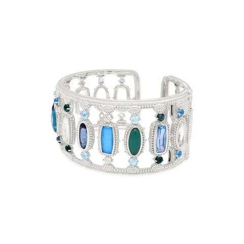 RIPKA Ambrosia Rock Crystal, Synthetic London Blue Spinel, Blue Cubic Zirconia, Green Quartz & Turquoise Rock Crystal Quartz Bracelet