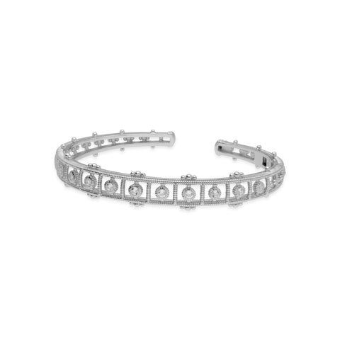 RIPKA Santorini Cuff with White Topaz Bezel Set Center Stones