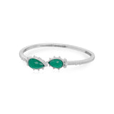 RIPKA Amalfi Double Pear Shape Green Chalcedony Cuff With White Topaz Accents