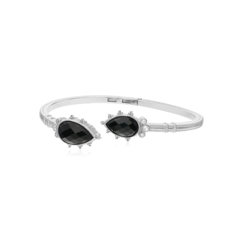 RIPKA Amalfi Double Pear Shape Black Onyx Cuff With White Topaz Accents