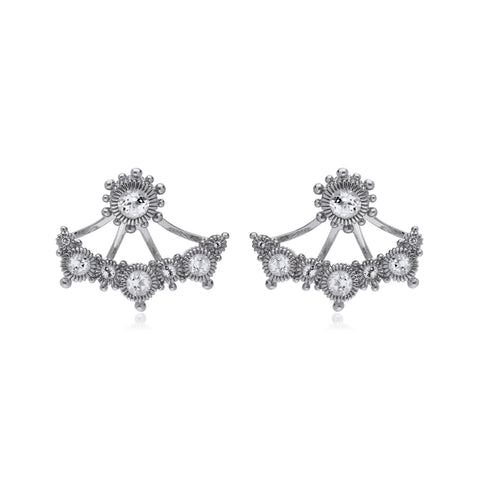 RIPKA Santorini White Topaz Stud Earrings with White Topaz Earring Jackets