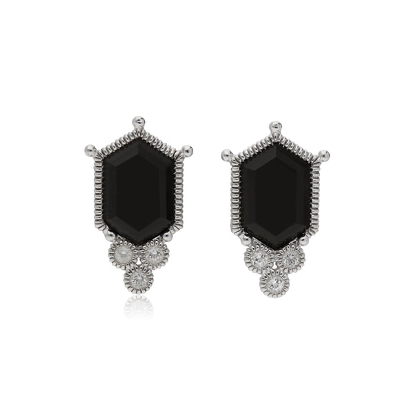 RIPKA Martinique Black Onyx Hexagon Stud Earrings with White Topaz Accents