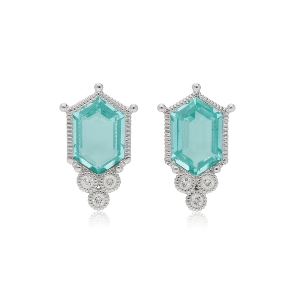 RIPKA Martinique Synthetic Paraiba Spinel Hexagon Stud Earrings with White Topaz Accents
