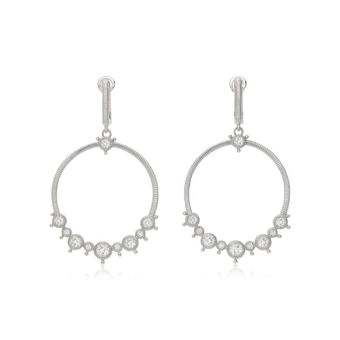 RIPKA Santorini White Topaz Forward Facing Hoop Earrings