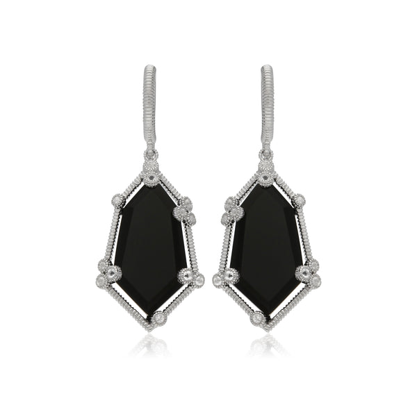 RIPKA Martinique Black Onyx Hexagon Drop Earrings with White Topaz Accents