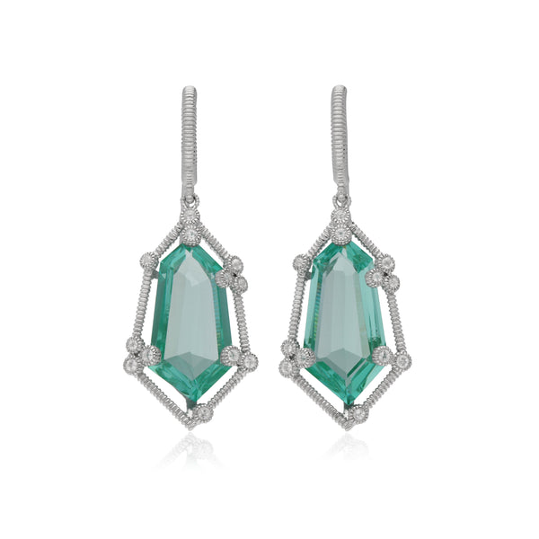 RIPKA Martinique Synthetic Paraiba Spinel Hexagon Drop Earrings with White Topaz Accents