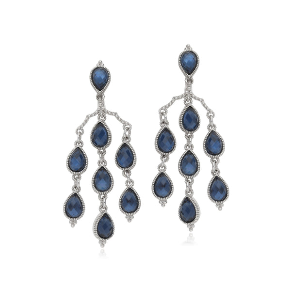 RIPKA Amalfi Pear Shape Rose Cut Blue Quartz & Hematite Doublet Chandelier Earrings