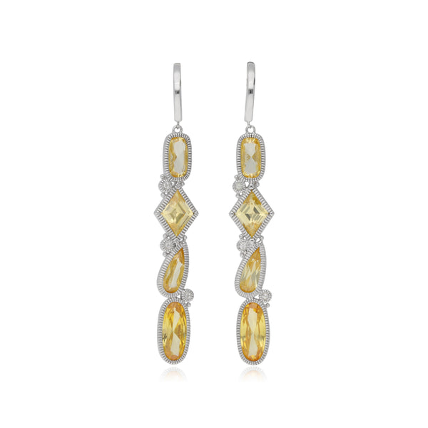 RIPKA Rio Multi Shape Canary CZ Linear Drop Earrings with White Topaz Accents