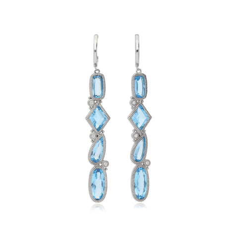 RIPKA Rio Multi Shape Swiss Blue Topaz Linear Drop Earrings with White Topaz Accents