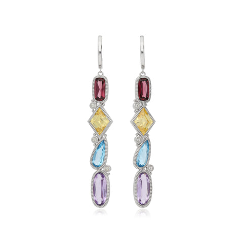 RIPKA Rio Multi Shape Blue Topaz, Pink Amethyst, Rhodolite & Canary CZ Linear Drop Earrings with White Topaz Accents