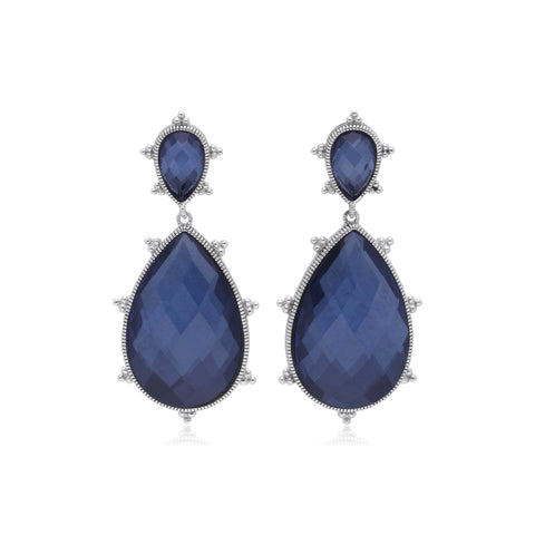 RIPKA Amalfi Large Pear Shape Rose Cut Blue Quartz & Hematite Doublet Drop Earrings