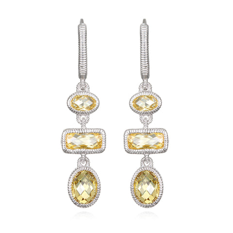 RIPKA Sanibel Multi Shape Canary CZ Linear Drop Earrings
