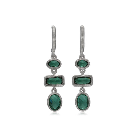 RIPKA Sanibel Multi Shape Green Quartz Linear Drop Earrings
