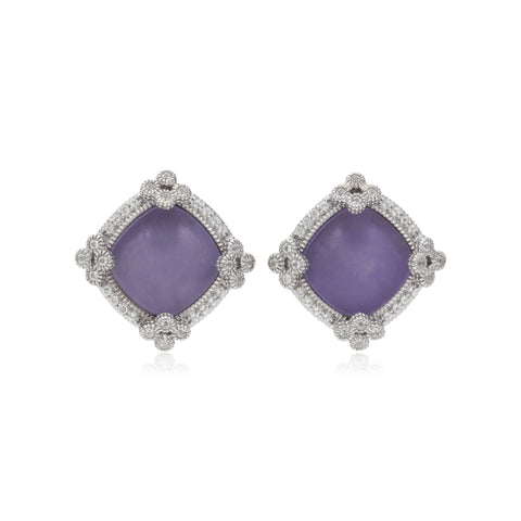 RIPKA Newport Lavender Jade Stud Earrings with White Topaz Accents