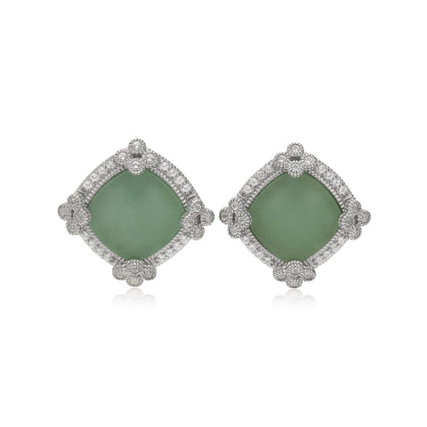 RIPKA Newport Green Jade Stud Earrings with White Topaz Accents