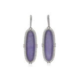 RIPKA Newport Lavender Jade Oval Drop Earrings with White Topaz Accents