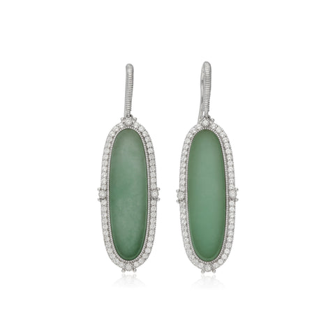 RIPKA Newport Green Jade Oval Drop Earrings with White Topaz Accents