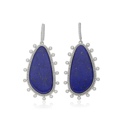 RIPKA Sardinia Large Organic Slice Lapis Drop Earrings with White Topaz Accents