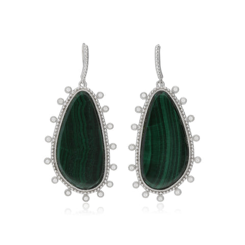 RIPKA Sardinia Large Organic Slice Malachite Drop Earrings with White Topaz Accents