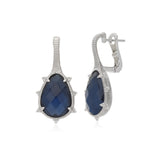 RIPKA Amalfi Pear Shape Rose Cut Blue Quartz & Hematite Doublet Drop Earrings