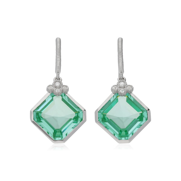 RIPKA Martinique Synthetic Paraiba Spinel Drop Earrings with White Topaz Accents