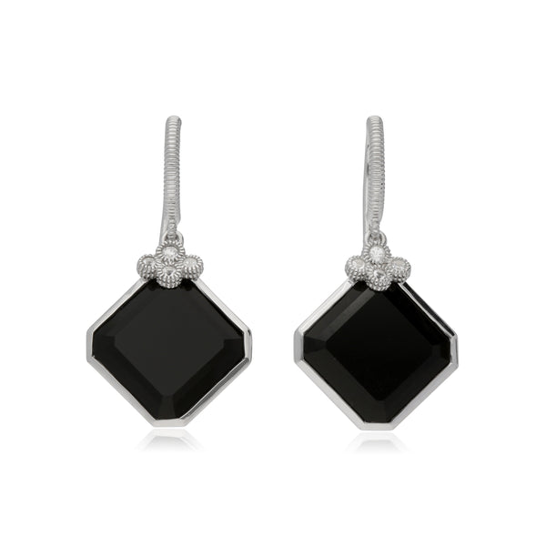 RIPKA Martinique Black Onyx Drop Earrings with White Topaz Accents
