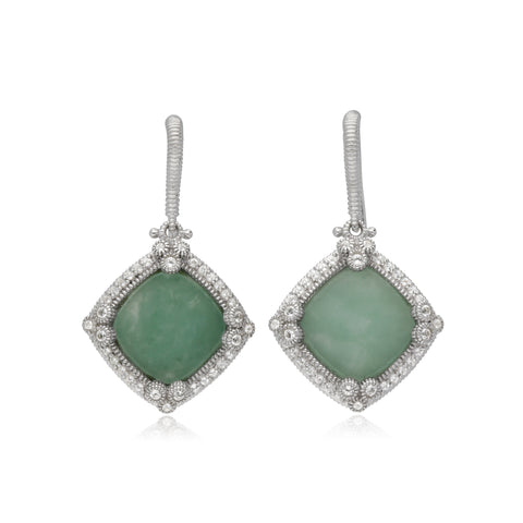 RIPKA Newport Green Jade Cushion Shape Drop Earrings with White Topaz Accents