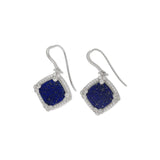RIPKA Newport Lapis Cushion Shape Drop Earrings with White Topaz Accents