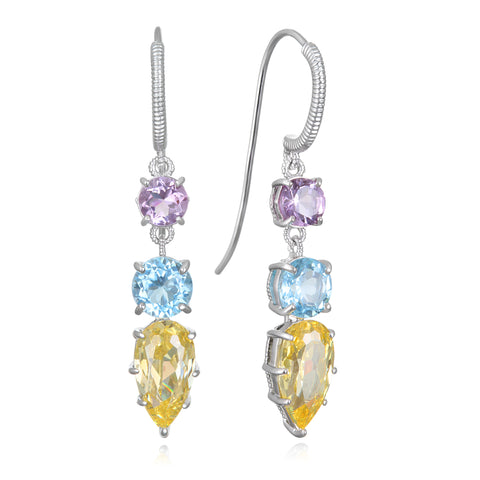 RIPKA Rio Multi Shape Canary CZ, Blue Topaz, and Pink Amethyst Drop Earrings