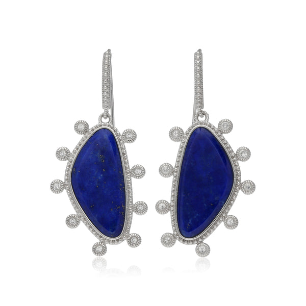 RIPKA Sardinia Small Organic Slice Lapis Drop Earrings with White Topaz Accents