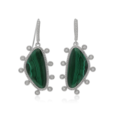 RIPKA Sardinia Small Organic Slice Malachite Earrings with White Topaz Accents