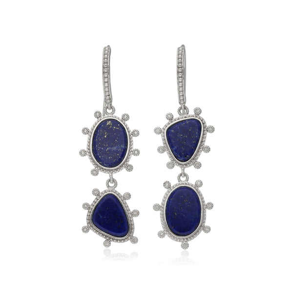 RIPKA Sardinia Double Stone Organic Slice Lapis Earrings with White Topaz Accents