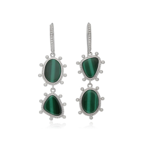 RIPKA Sardinia Double Stone Organic Slice Malachite Earrings with White Topaz Accents