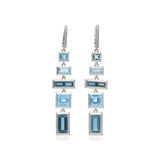 RIPKA Cityscapes Swiss Blue Topaz & London Blue Topaz Baguette Linear Drop Earrings