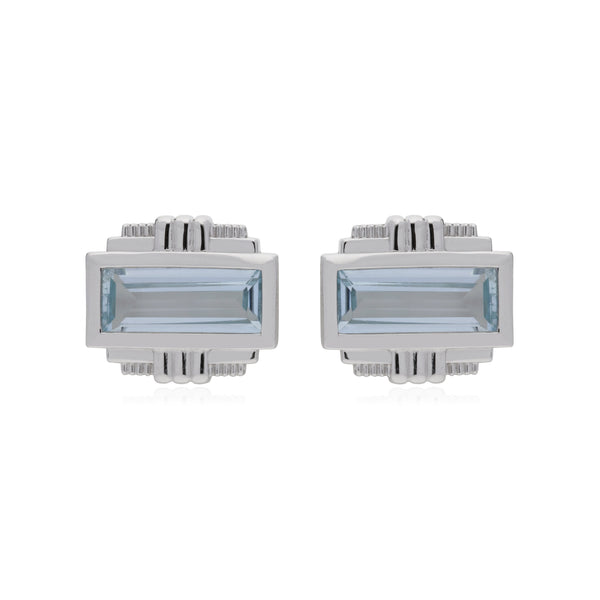 RIPKA Cityscapes Sky Blue Topaz Baguette Stud Earrings