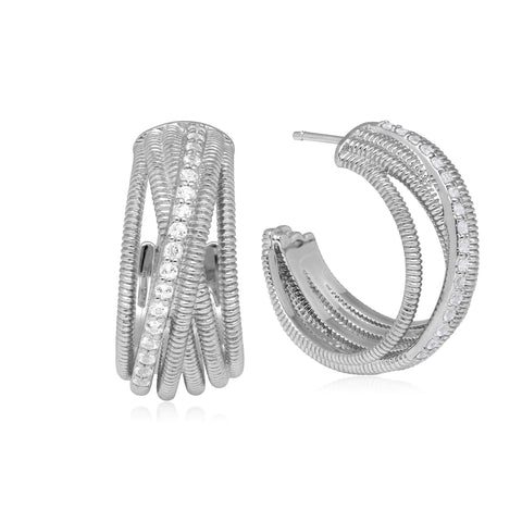 Eternity White Topaz Hoop Earrings