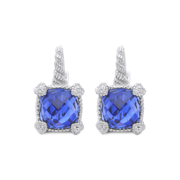 Little Luxuries Synthetic Blue Sapphire Drop Earrings with White Topaz Heart Prongs