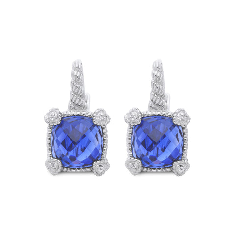 RIPKA La Petite Synthetic Blue Sapphire Drop Earrings with White Topaz Heart Prongs