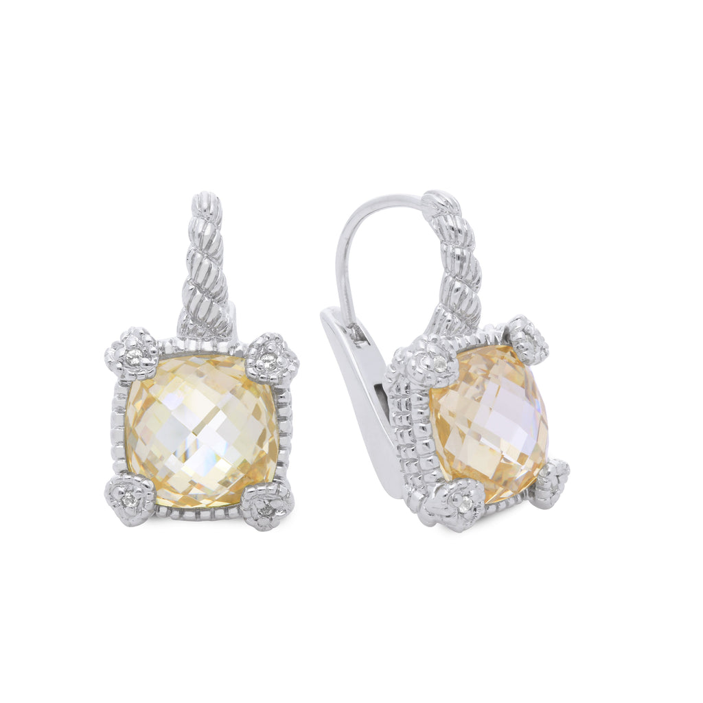 Little Luxuries Canary CZ Drop Earrings with White Topaz Heart Prongs