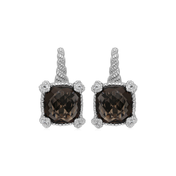 RIPKA La Petite Smokey Quartz Drop Earrings with White Topaz Heart Prongs